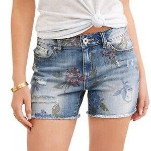 Time and Tru - Floral Print Denim Shorts